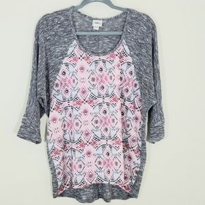 Daytrip Sz L Gray & Pink & Orange Top